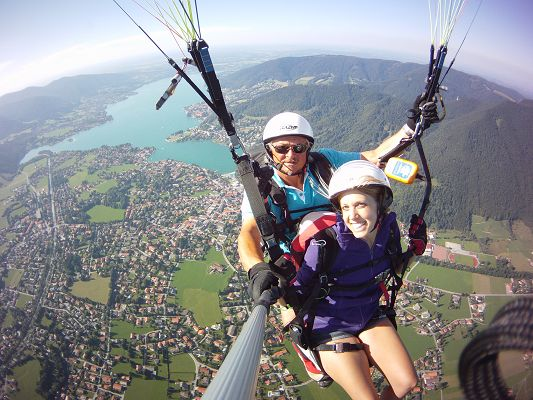 Paragliding Tandemflug über dem Tegernsee