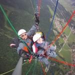 Tandemflug mit dem Gleitschirm - von oben